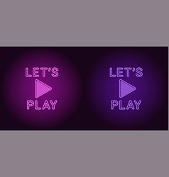 Neon icon of purple and violet lets play vector