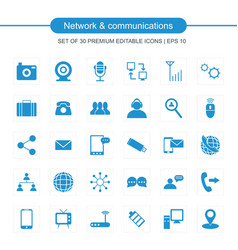 Network and communication set of icons blue vector