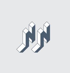 Nn - logo or 2-letter code isometric 3d font vector