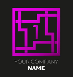 Number one logo in colorful square maze vector