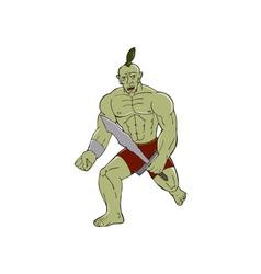 Orc Warrior Wielding Sword Running Cartoon vector image