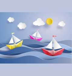Paper sailing boat vector