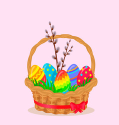 paschal wicker basket with easter eggs vector image