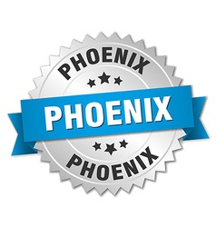 Phoenix round silver badge with blue ribbon vector