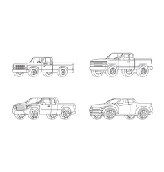 Pickup Truck Modern Design Models Set vector