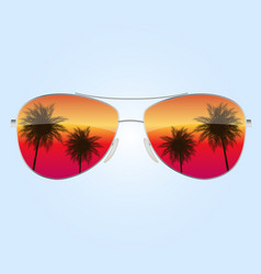 Realistic sun glasses with palm tree icon eps10 vector