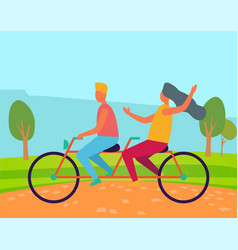 romantic day man and woman on bicycle vector image
