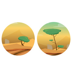 round with desert dunes trees and stones vector image