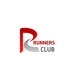 Runners sport club letter r icon vector