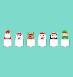 santa claus elf white bear raindeer deer snowman vector image