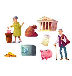 saving money cartoon icon piggy bank safe deposit vector image