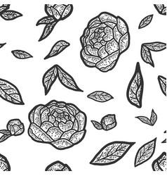 Seamless pattern peony flower sketch scratch vector