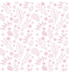 Seamless pattern with cute rabbits Easter vector image