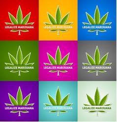 Set legalize marijuana hemp cannabis sativa or vector