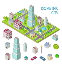 Set of City Buildings in Isometric Projection vector image