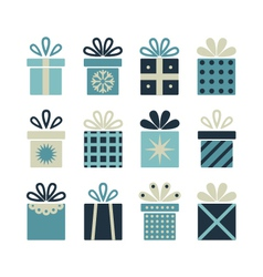 Set of flat gift packages Christmas gifts vector image