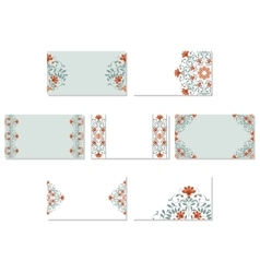 Set of floral business cards vector image