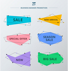 Set of sale promotion and discount offer ribbons vector
