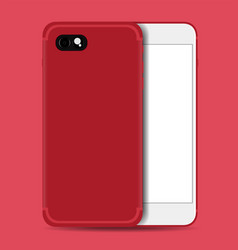 smartphone realistic red with white screen vector image