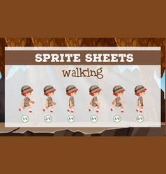 sprite sheet boy walking vector image