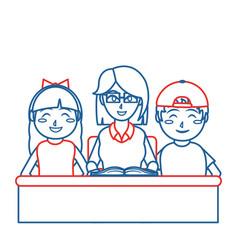 Teacher and kids design vector