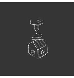 Tree d printing drawn in chalk icon vector