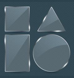 trendy transparent glass banner shape plates set vector image