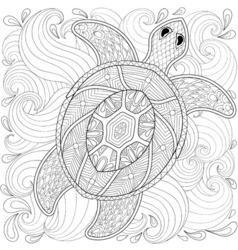 Turtle in ocean waves vector image