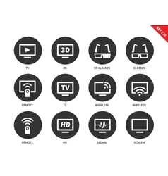 TV icons on white background vector