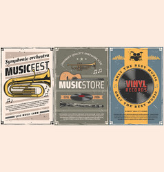 vinyl records guitar drum music instrument vector image