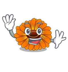 Waving calendula flowers in a cartoon basket vector