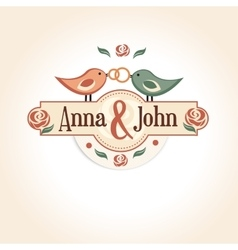 Wedding vintage badge in retro design with the vector