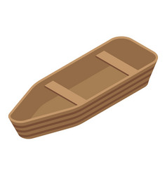 wood boat icon isometric style vector image