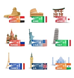 World landmarks ticket set vector image