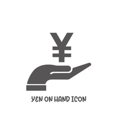 yen on hand icon simple flat style vector image