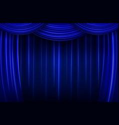 Blue silk curtain background vector