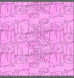 Bright pink seamless pattern with sleepy cats vector