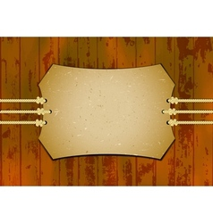 Card on the ropes with wooden background vector image
