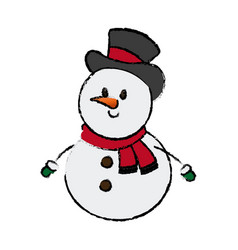 christmas snowman with hat and scarf character vector image