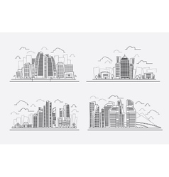 Line drawing skyscrapers contour cityscape vector image