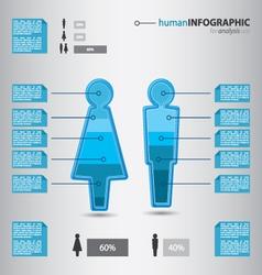 Modern human man and woman figurine info graphic vector image vector image