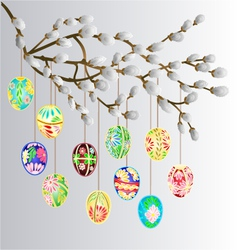Pussy willow branch and multi colored easter eggs vector image vector image