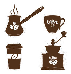 vintage coffee objects and lettering set vector image vector image