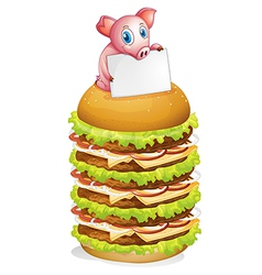 A pig holding an empty signage at the top of the vector image vector image