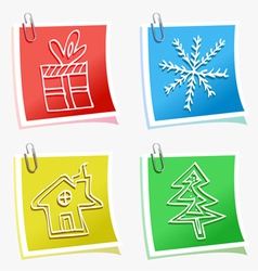 christmas symbols with sticky vector image vector image