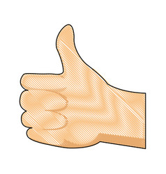 drawing hand man ok like gesture icon vector image vector image