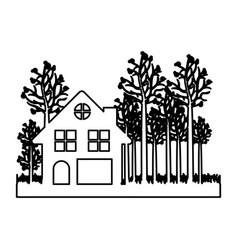 monochrome contour of cottage in the forest in vector image vector image