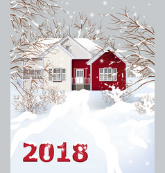 red vintage house winter snowy background vector image vector image