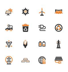 bio fuel industry icons set vector image