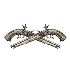 Crossed vintage pistols hand drawn sketch ancient vector